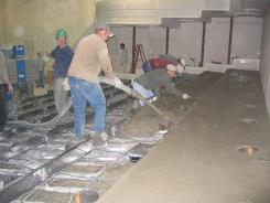 Cementing the main floor
